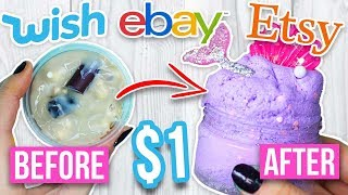 MYSTERY WHEEL OF SLIME MAKEOVER CHALLENGE *fixing $1 Wish slime $1 Amazon slime and $1 Etsy slime*
