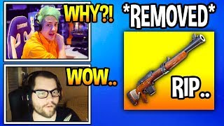 STREAMERS REACT TO HUNTING RIFLE *REMOVED* FROM FORTNITE SOON! *RIP* Fortnite Moments