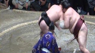 20140524 稀勢の里vs日馬富士 髷をつかんで反則負け 大相撲夏場所14...