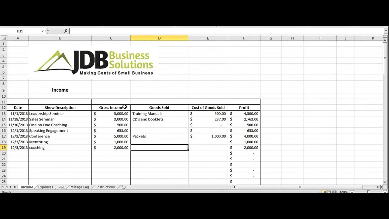 Accounting And Tax Spreadsheet For Entrepreneurs Youtube