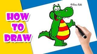 Vẽ và tô màu cá sấu - How to draw a Crocodile I Bé tập vẽ