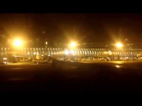 Taxi and take off from Paris CDG at night
