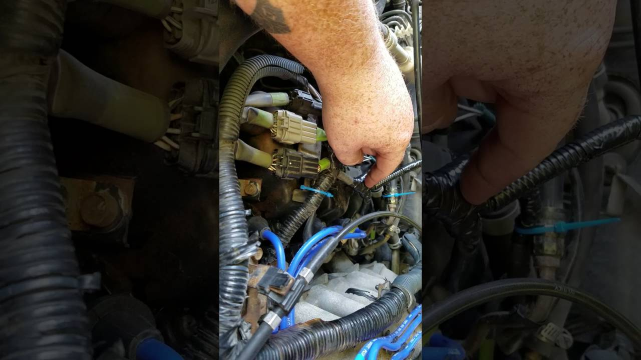 maxresdefault 1999 nissan pathfinder knock sensor relocation (part 2) youtube Chevy Engine Wiring Harness at edmiracle.co
