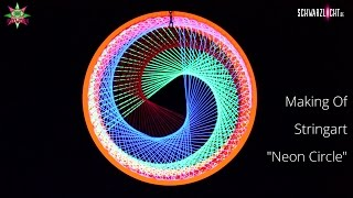 DIY Making Of Blacklight Stringart Yarn Art Deko Neon Circle by schwarzlicht.de