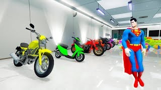LEARN COLORS for kids  with SUPERMAN MOTORBIKES Garage  11x colors for baby!