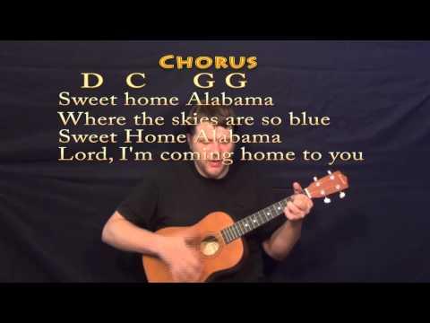 Sweet Home Alabama - Baritone Ukulele Cover Lesson with Chords, Lyrics