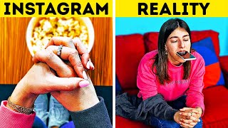 INSTAGRAM VS REAL LIFE || 24 Phone Photo Life Hacks