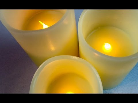 Flameless LED Flickering Flame Real Wax Candles (Set Of 3) with Remote Control by Guiding Lights