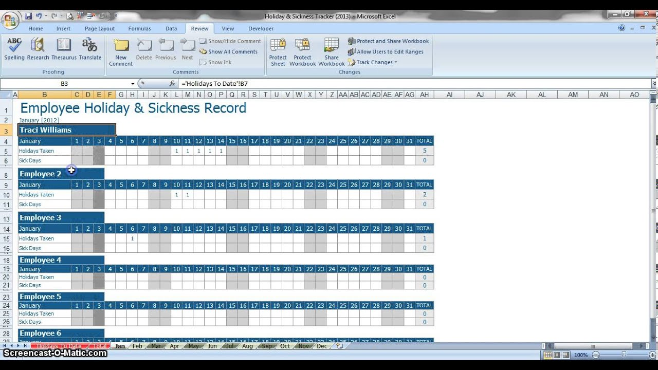Employee Annual Leave U0026 Sickness Tracker   YouTube