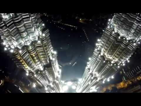 Twin Tower Petronas Kuala Lumpur Night Aerial View