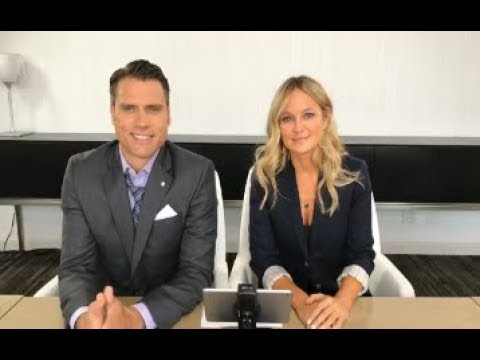 Sharon Case and Joshua Morrow answering questions of the  of the young and the restless