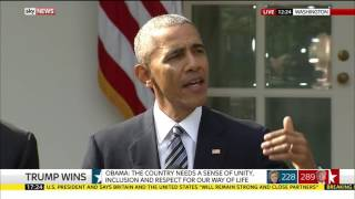 Obama speech after Donald Trump claims US election victory