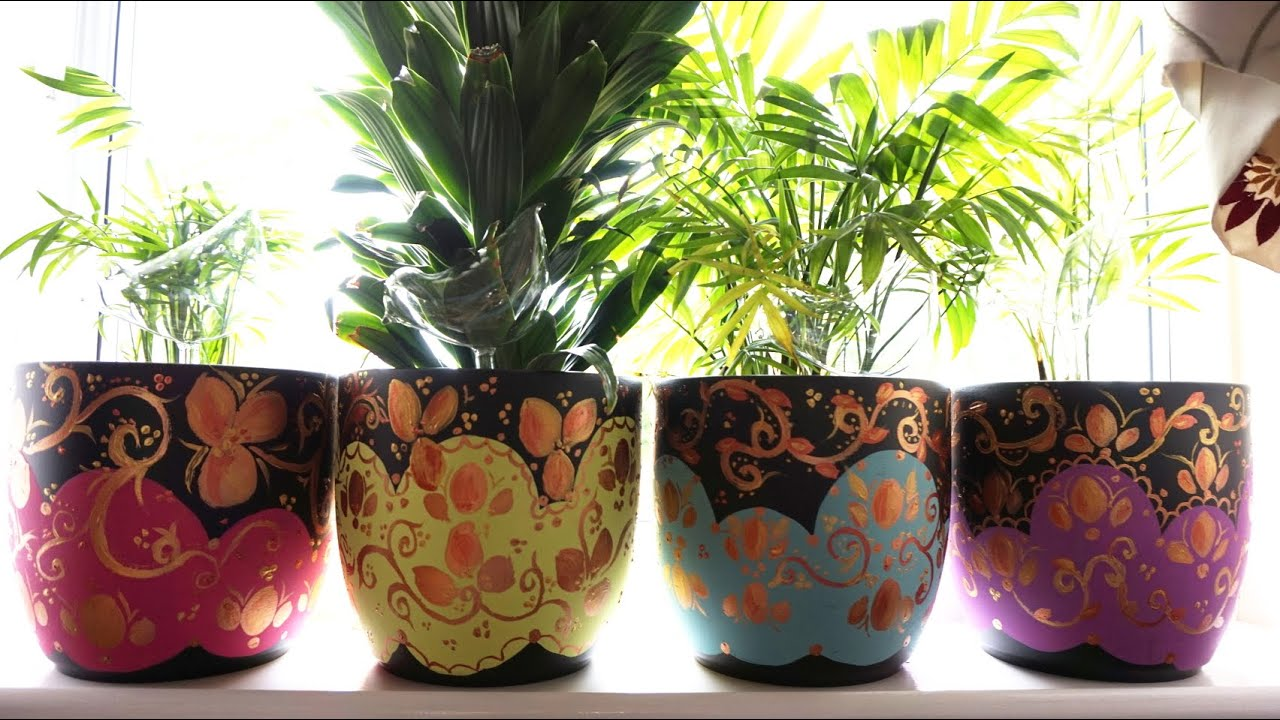 Diy project how to makeover plant pots youtube for Big pot painting designs
