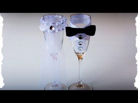 Мастер класс / Черно-белые свадебные бокалы ЧАСТЬ 1 своими руками мастер класс