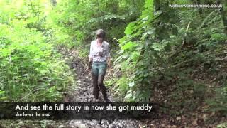 Kate plays in mud