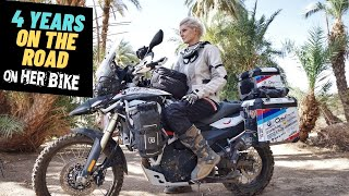 Solo Female Travels Around the World on a Motorcycle. Celebrating 4-Year On Her Bike Journey! EP 100