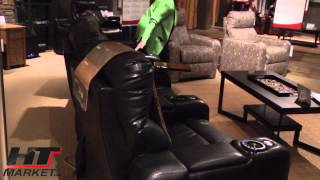 Lane End Zone Leather Home Theater Seating Black Leather At Htmarket.com