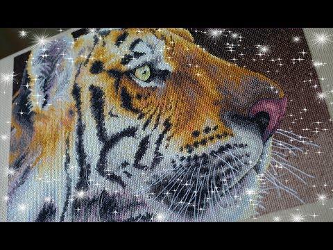 Вышивка тигр дименшенс
