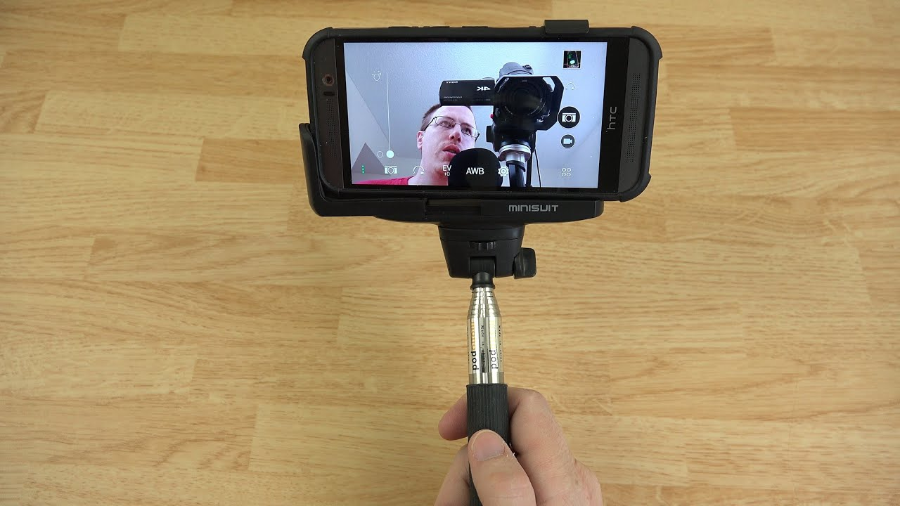 minisuit selfie stick pro with built in remote for android apple youtube. Black Bedroom Furniture Sets. Home Design Ideas
