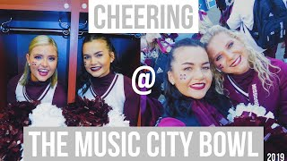 CHEERING @ the Music City Bowl !!! + behind the scenes, college cheer, MSU