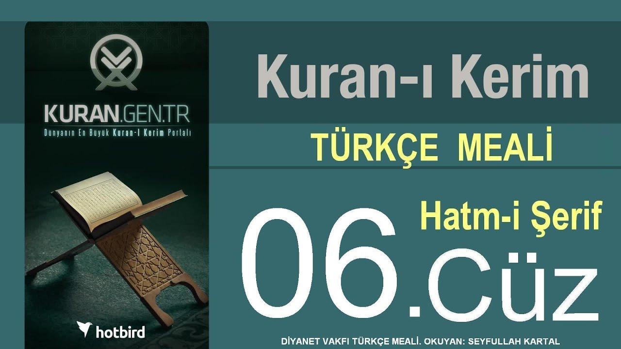 Türkçe Kurani Kerim Meali, 06 Cüz, Diyanet işleri vakfı meali, Hatim, Kuran.gen.tr