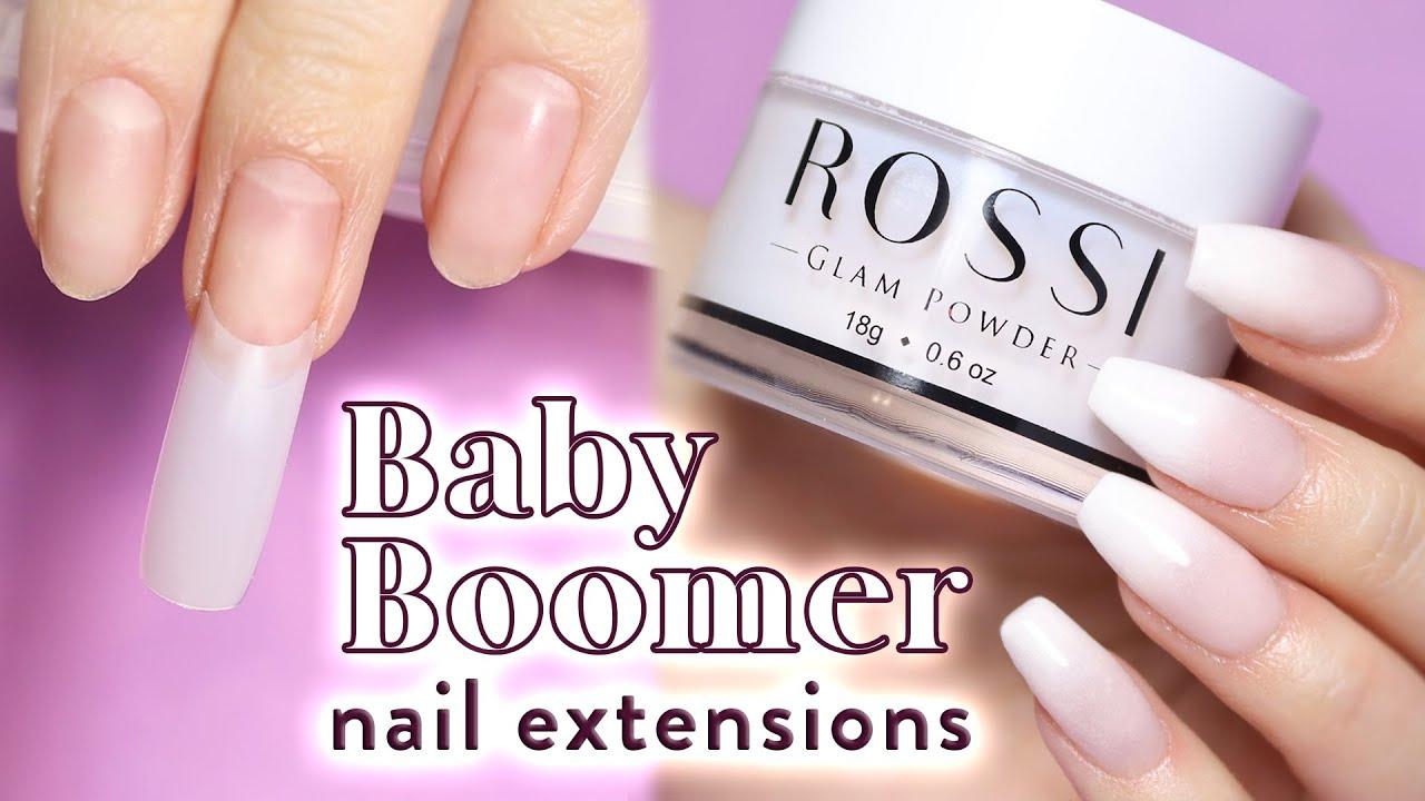 Applying Dip Powder with Fake Nail Tips   Baby Boomer ...