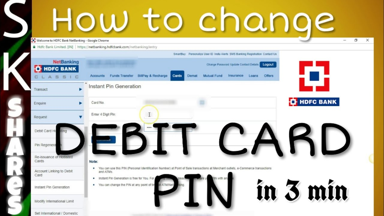 How to change hdfc forex card pin