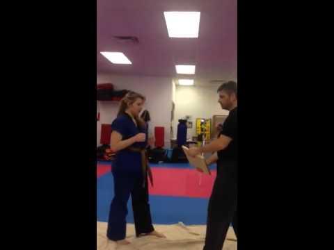 Elbow strike breaking a board