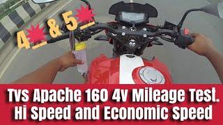 Tvs Apache 160 4v Mileage Test || Hi Speed And Economic Speed