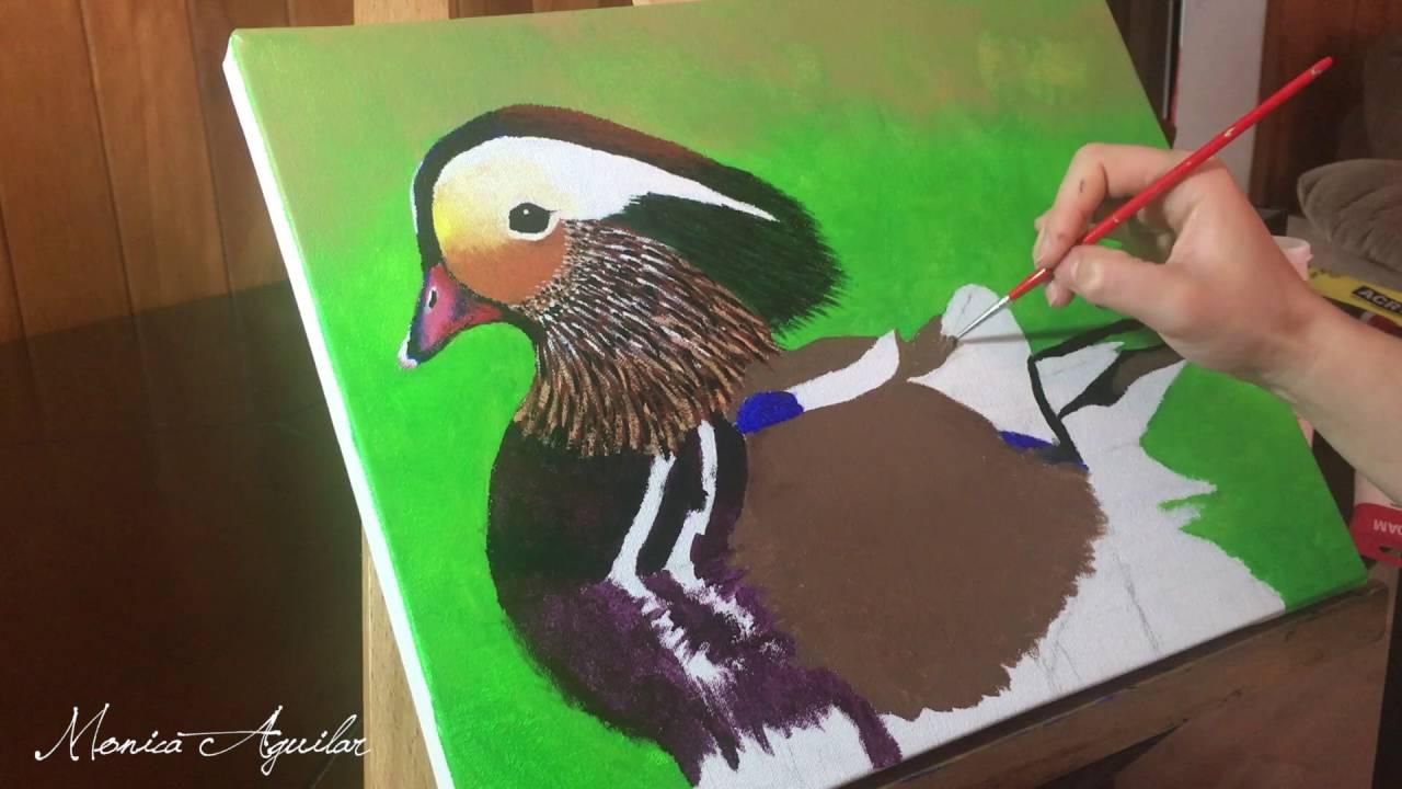 Monica Aguilar - Cómo pintar un Pato Mandarín con Acrílicos - YouTube