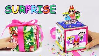 Explosion Surprise Box DIY With Powerpuff Girls and Professor | Confetti Surprise Gift Box Tutorial