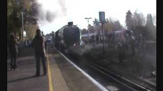 Steam. Bittern 60019 steams out of Ascot (Berkshire) Nov 2009