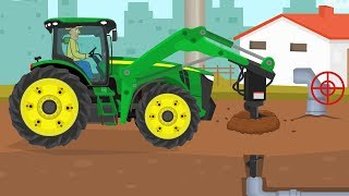 Tractor with a large drill - Agricultural vehicles not only on the field | Children's machinery show