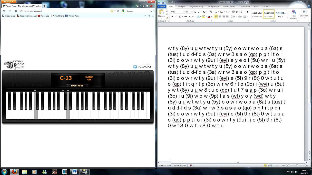 Virtual Piano - Yiruma, Kiss the Rain - YouTube