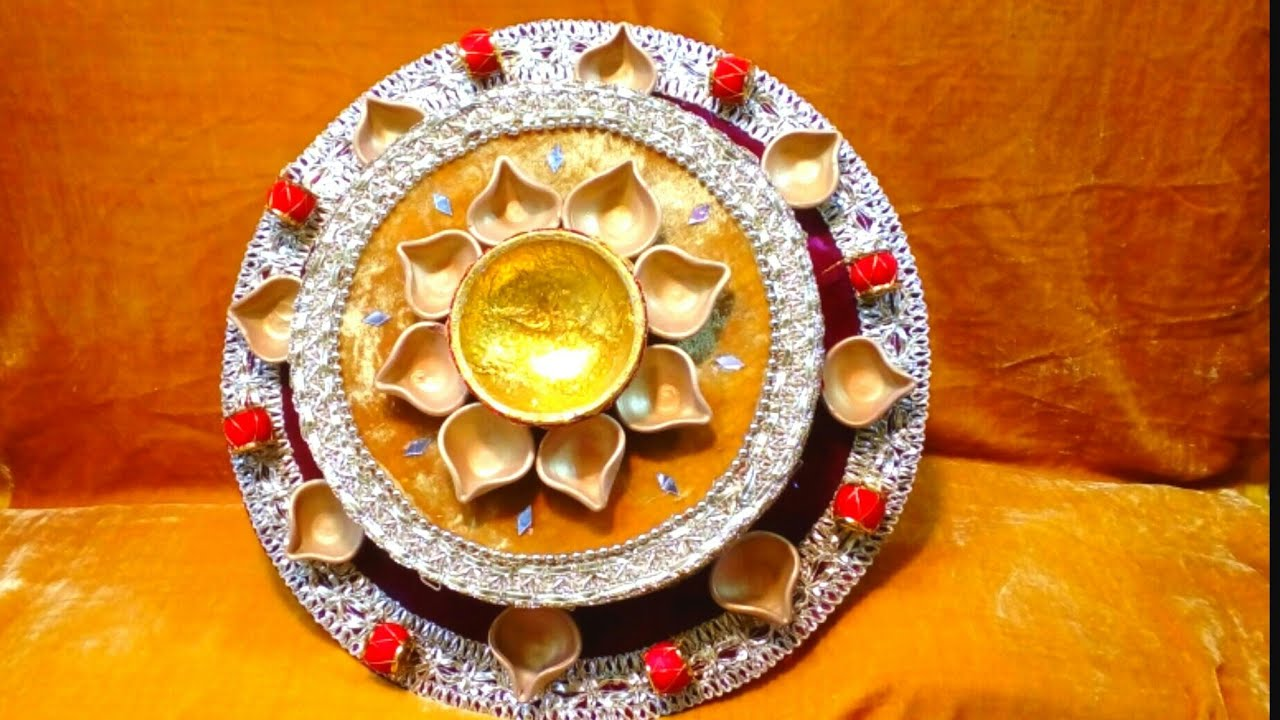 Mehndi Thaal Decoration Ideas I : Mahndi thaal making mehndi decortion how to make