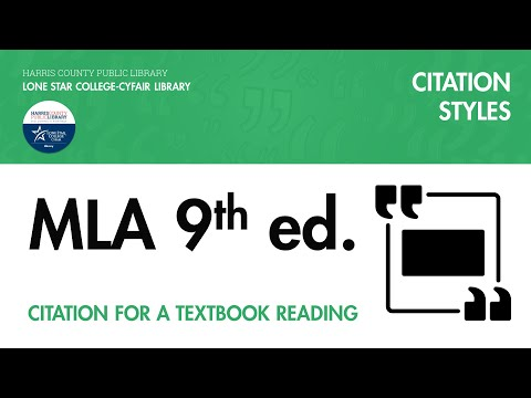 MLA Citation for a Textbook Reading