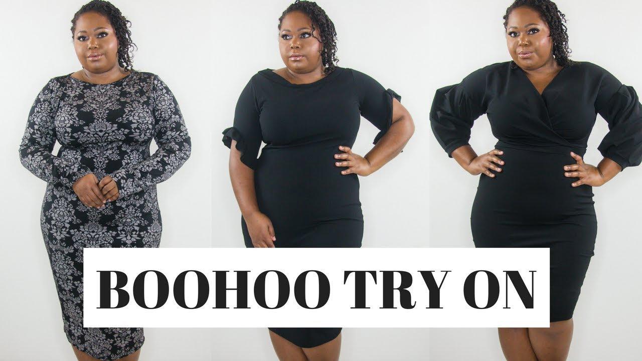 3d064dcc11 BooHoo Curvy Classy Black Dresses Try on haul - YouTube