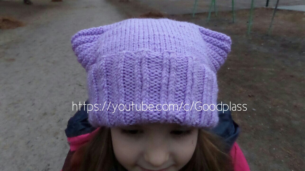 схема вязания шапок с кошачьими ушками