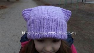 Шапка-кошка. Вязание спицами. Вязаная шапка с ушками. Knitting(Hobby)