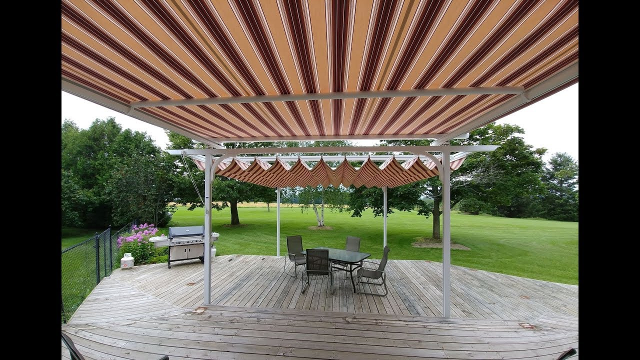Retractable Fabric Pergola Canopy Amp Tension Shade Youtube