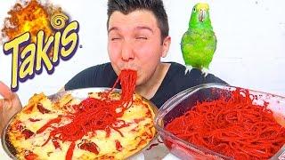 Fire Takis Pizza &amp Noodles  MUKBANG