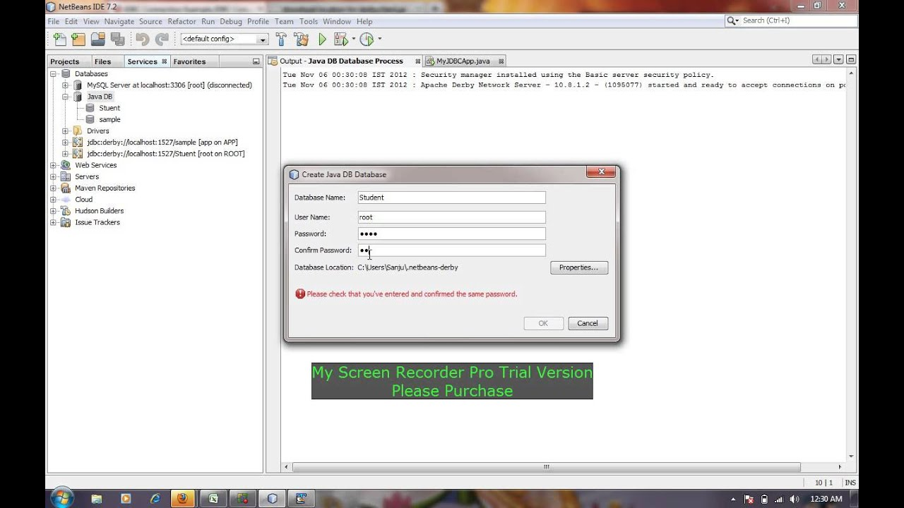 Connet to Derby DB from netbeans ,Java JDBC Tutorial