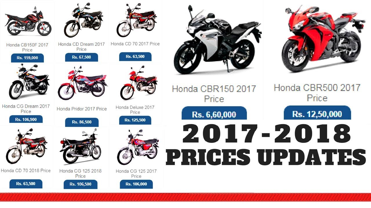 HONDA MOTORCYCLES PRICE IN PAKISTAN 2017 2018 NEW PRICES UPDATES ON PK BIKES