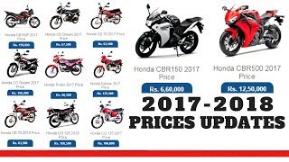 HONDA MOTORCYCLES PRICE IN PAKISTAN 2017-2018 NEW PRICES UPDATES ON PK BIKES