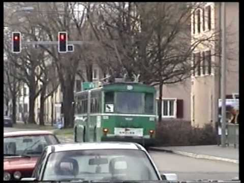 Trams and Trolleybuses in the town of Basel ( Hi8 Video )