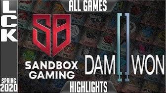 SB vs DWG Highlights ALL GAMES | LCK Spring 2020 W3D5 | Sandbox Gaming vs Damwon Gaming