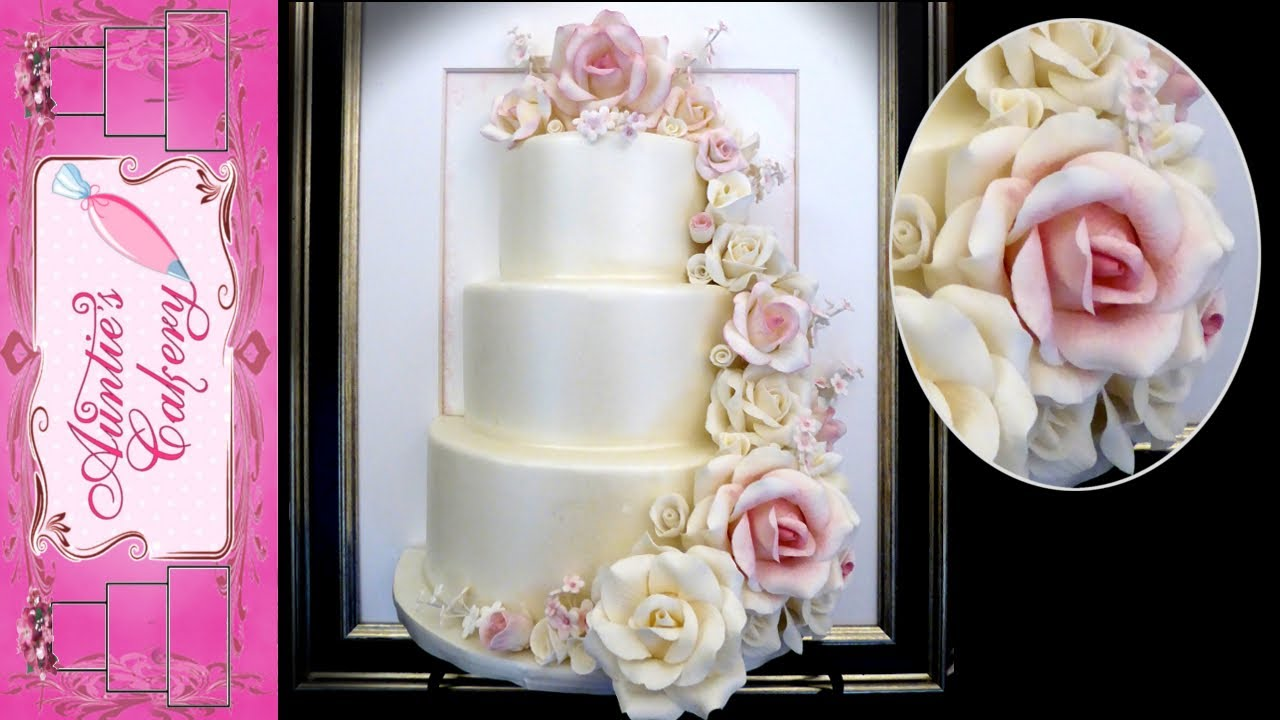 Petal Cascade Display Wedding Cake