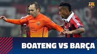 Kevin-prince boateng scored two great goals against fc barcelona when he played for ac milan in uefa champions league. ---- on social media subs...