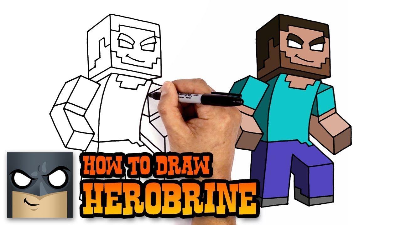 How To Draw Minecraft Herobrine Youtube