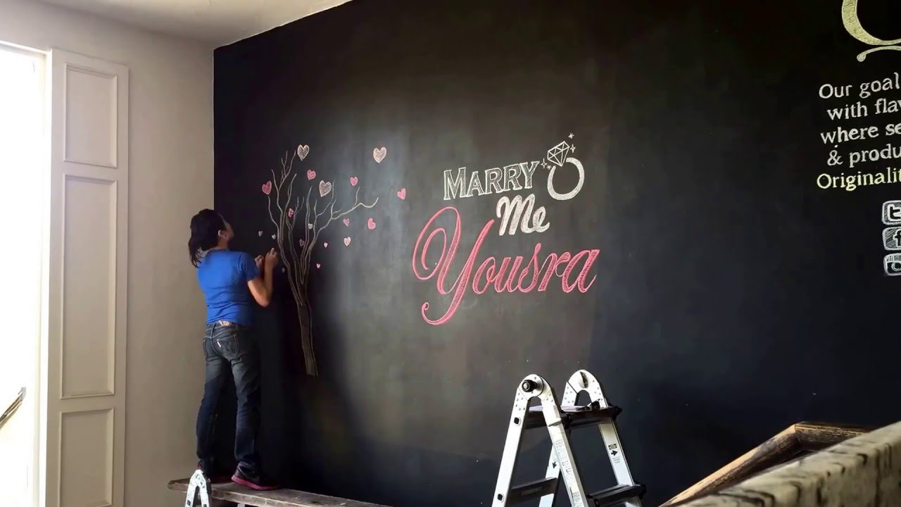 Time Lapse Wedding Chalk Drawing at Q Haute Cuisine, Calgary Chalk Artist